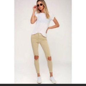 NWT: Free People Khaki Busted-Knee Skinny Jeans